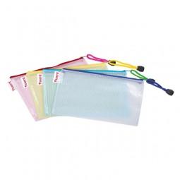 Папка-конверт на молнии, прозрачная, ассорти.