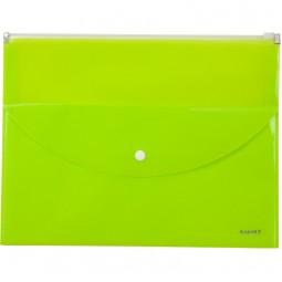 Папка-конверт,zip-lock,2 отделения,А4,желтая