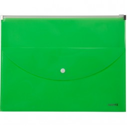 Папка-конверт,zip-lock,2 отделения,А4,салатовая