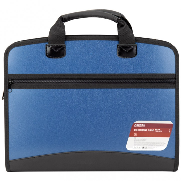 Портфель А4 на 4 отделения, синий металлик