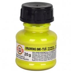 Тушь флуоресцентная KOH-I-NOOR, желтая, 20г
