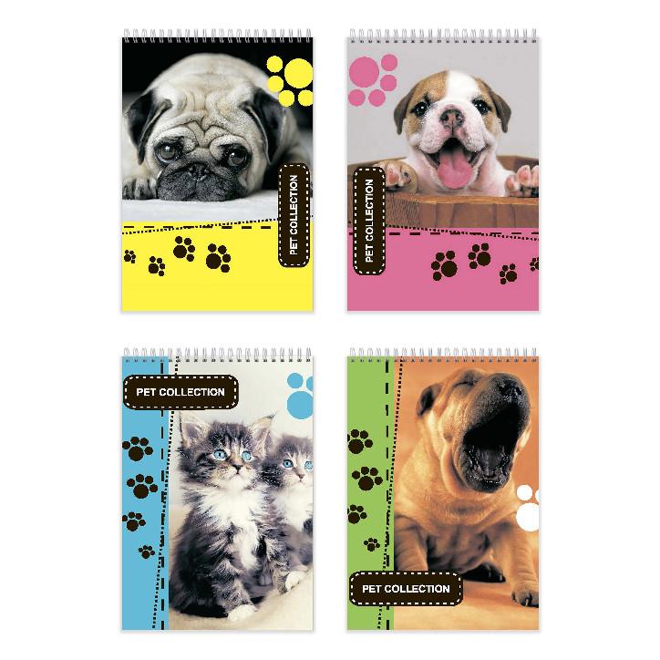 Блокнот для заметок «Pet Collection colored», верх. пружина, А6, 50 л., офсет, клетка, мел. обл.