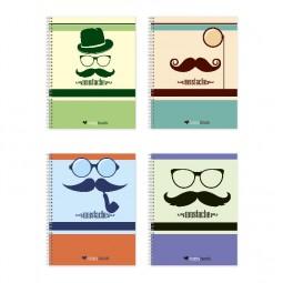 Блокнот для заметок «Mustache», бок. пружина, В5, 60 л., офсет, клетка, мел. обл.
