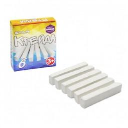 Мел белый квадратный, школьный, картонная коробка, 6 шт * 70х15х10 мм