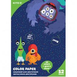 Бумага цветная двустор. (12 л/12 цв.), А4 Kite Jolliers