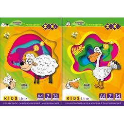 Набор цветного картона, 14 листов А4, 7 цветов