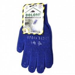Перчатки трикотажные рабочие ДОЛОНИ, 646, синие с точкой, плотность 2 нити