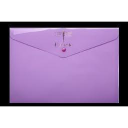 Папка-конверт на кнопці FAVOURITE, PASTEL, А4, бузкова