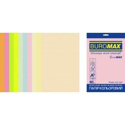 Набор цветной бумаги PASTEL+NEON, EUROMAX, 10 цв., 20 л., А4, 80 г/м²