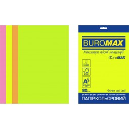Набор цветной бумаги NEON, EUROMAX, 4 цв., 50 л., А4, 80 г/м²