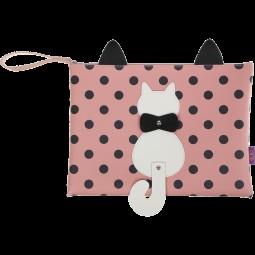 Папка А4 PUSSY CAT, 33x24x1,5 см, розовая (декор: кот с подвижным хвостом)