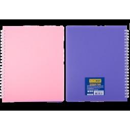 Тетрадь для записей SUMMER TIME, B5, 96л., клетка, пластиковая обложка, св.-розовый/сиреневый