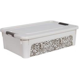 """Контейнер """"Smart Box"""" з декором Home 14л. (_біла роза/какао)"""