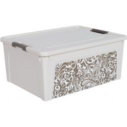 """Контейнер """"Smart Box"""" з декором Home  7,9л. (_біла роза/какао)"""