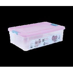 """Контейнер Smart Box с декором """"Pet Shop"""" 14л, прозрачный/розовый/бирюзовый"""