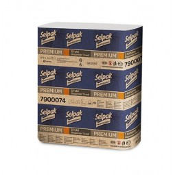 """Рушники паперові целюлозні """"Selpak Pro"""" Premium, Z-подібні.,по 200шт., 2-х шарові, 20 упаковок, білий"""