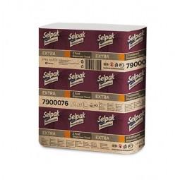 """Рушники паперові целюлозні """"Selpak Pro"""" Extra, Z-подібні.,по 200шт., 2-х шарові, 12 упаковок, білий"""