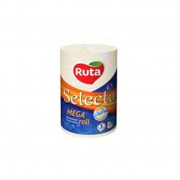 """Полотенца целлюлозные """"Selecta Mega roll"""", 1 рул., на гильзе, 3-х сл., белый RUTA"""