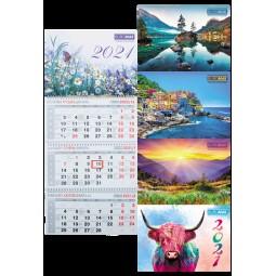 Календарь настенный квартальный 2021 р., 298х630 мм, 3 пружины