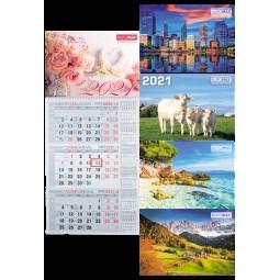 Календарь настенный квартальный 2021 р., 298х630 мм, 1 пружина