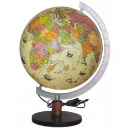 Глобус Политический под старину с подсветкой 320 мм на деревянной подставке (4820114954534)