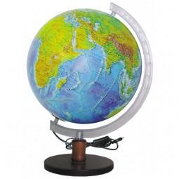 Глобус физический с подсветкой 320 мм на деревянной подставке (4820114952653)