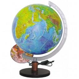 Глобус Физико-политический с подсветкой 320 мм на деревянной подставке (4820114954107)