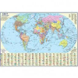 Мир. Политическая карта. 65x45 см. М 1:54 000 000. Картон, планки