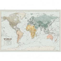 Мир. Политическая карта. 88x60 см. М 1:34 500 000. Глянцевая бумага, планки
